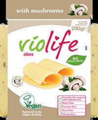 Die Scheiben Pilze von Violife sind ein exzellenter Kääseersatz für Liebhaber von allerlei Pilzkääsen. Mit seinen sehr guten Schmelzeigenschaften macht er auch überbacken eine gute Figur!
