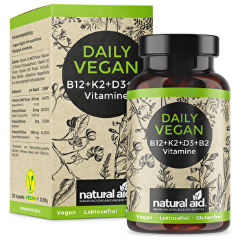 natural aid - Daily Vegan Vitamin B12+K2+D3+B2