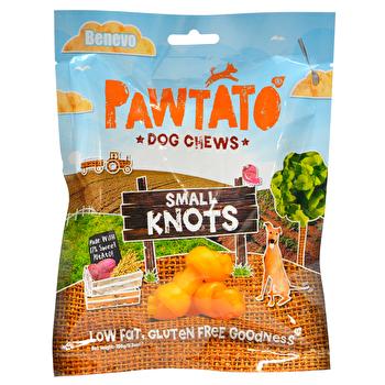 Benevo Pawtato Knots sind leckere vegane Kauknochen für kleine Hunde! Ergibig und gut für Zähne und Zahnfleisch!