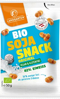 Die Landgarten Bio Knabber Soja Tüte beinhaltet nur geröstete Bio-Sojabohnen aus österreichischem Anbau.