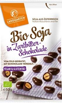 Bio Schoko Soja von Landgarten ist eine perfekte Kombination aus proteinreichen gerösteten Sojabohnen und süß-herber Bio-Zartbit