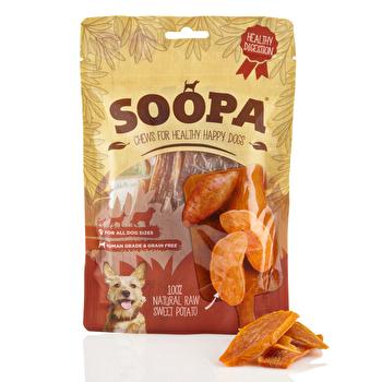 Die Sweet Potato Chews von Soopa kommen aus 100% Süßkartoffeln daher, sind sehr gut bekömmlich und werden von Hunden geliebt! Je